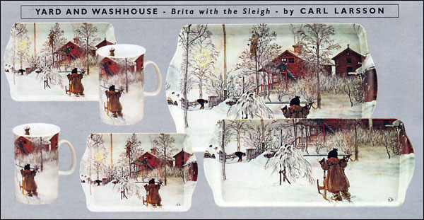 Carl Larsson - Brita with the Sleigh - Trays and Mugs