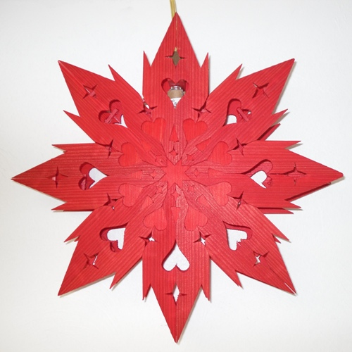 Hanging Heart Star, Swedish Red