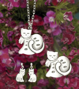 Swedish Pewter Cat Jewelry