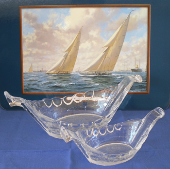 Lindshammar Glass Viking Ship Bowls